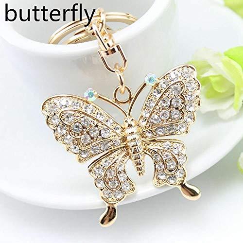 Butterfly Owl Peacock Keychain Rhinestone Crystal Jewelry Handbag Pendant (Size - Butterfly)