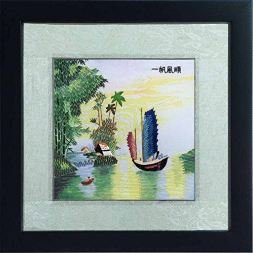 1Smoothly Sailing Ship on Lake Needle and Thread Painting