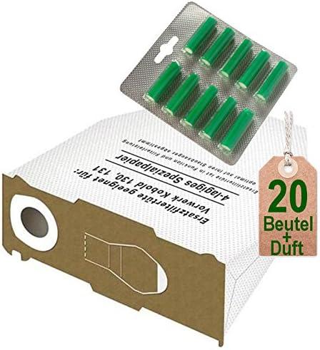 20 Bolsas de aspiradora bolsas blancas y aroma verde bosque para Vorwerk Kobold VK 130, Kobold VK 131 y 131 SC: Amazon.es: Hogar