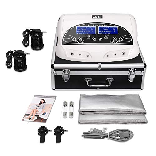 Vitaciti Dual Ion Detox Foot Bath Cell Detoxification Machine with Black Aluminum Box, Two Arrays
