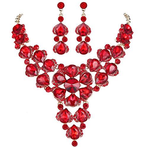 (BriLove Women's Wedding Bridal Crystal Multi Teardrop-Shape Flower Statement Necklace Dangle Earrings Set Ruby Color Gold-Tone)