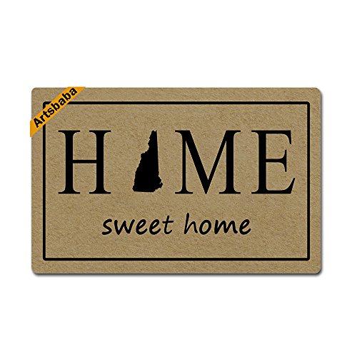 (Artsbaba Doormat Home Sweet Home State Map Door Mat Monogram Non-Slip Rubber Doormat Non-Woven Fabric Floor Mat Indoor Entrance Rug Decor Mat 23.6 x 15.7 Inches - New Hampshire)