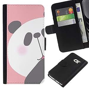 Planetar® Modelo colorido cuero carpeta tirón caso cubierta piel Holster Funda protección Samsung Galaxy S6 EDGE (NOT S6) ( Panda Kids Drawing Pink White Bear )