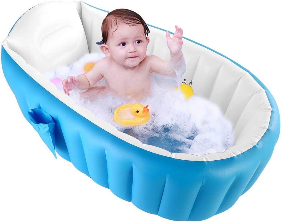 WETERS Piscina Inflable, baño del bebé de Seguridad de la Cuenca de la bañera Inflable Plegable Piscina al Aire Niño de hidromasaje Sin colchón Que amortigüe la Bomba de Aire del pie,Azul