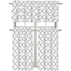 Regal Home Collections Shabby Trellis Kitchen Curtain Tier & Valance Set - Assorted Colors (Grey)