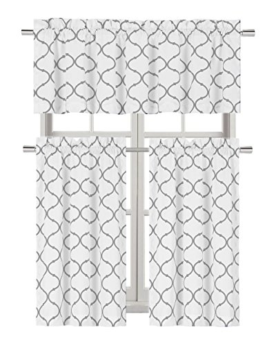 Regal Home Collections Shabby Lattice Kitchen Curtains - Assorted Colors & Sizes (Hunter Gray, Complete Kitchen Curtain - Kitchen Window Set Curtain