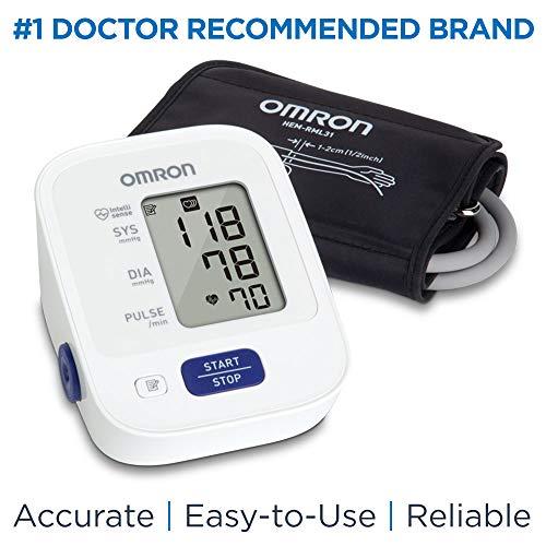 Omron Bronze Blood Pressure Monitor, Upper Arm Cuff, Digital Blood Pressure Machine, Storesup to 14 Readings