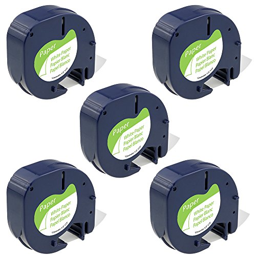 Aoimark Dymo Letratag Refills Label Maker Tape, LT Paper Labeling Tape for LetraTag Plus LT-100T/ LT-100H Label Makers, 91330 Self-Adhesive Paper Tape, Black on White, 1/2'', 5-Pack (10697)