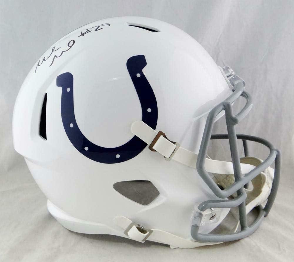 Marlon Mack Autographed F//S Indianapolis Colts Speed Helmet Beckett Auth *Black