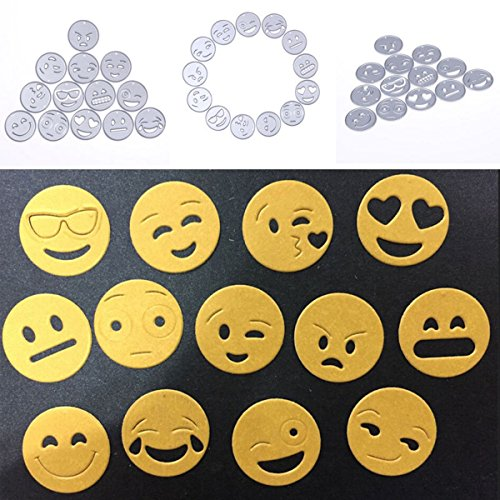 TACOLI - 13pcs Emoji Metal Cutting Dies Stencil for Scrapbooking DIY Photo Album Paper Card Embossing Folder Decorative Craft Die Cuts