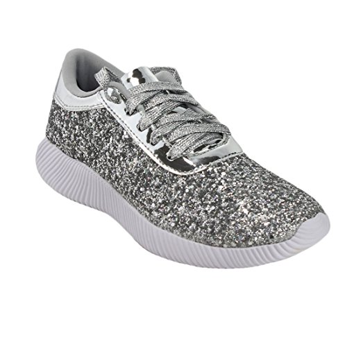 Up Lace Sparkling Sneakers Forever Silver Fp13 Glitter Womens Street Fashion XxXvIZ