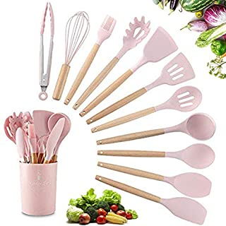 ZYYRSS Silicone Cooking Utensil Kitchen Utensils Set, 11 Pieces Silicone Kitchen Utensil Wooden Handles, Kitchen Spatula Sets with Holder (Pink)