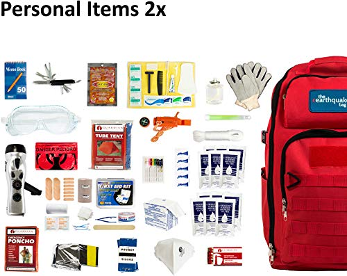 Complete Earthquake Bag - Most popular emergency kit for earthquakes, hurricanes, floods + other disasters (2 person, 3 - Kit Supplies Emergency