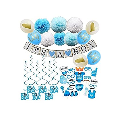 Amazon Blue Baby Shower Decorations For Boy 47pcs Photo Booth