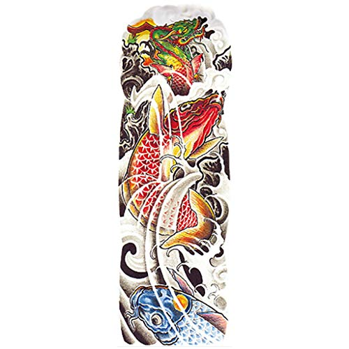 Temporary Tattoo Arm Sleeves Fake Slip on Arm Sunscreen Sleeves Tattoo Wedding Festival Body Make Up Han Shi (V-1) ()