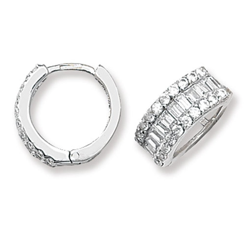 2146458c6db04 9ct White Gold 14MM Cubic Zirconia Hinged Hoop Earrings: Amazon.co ...