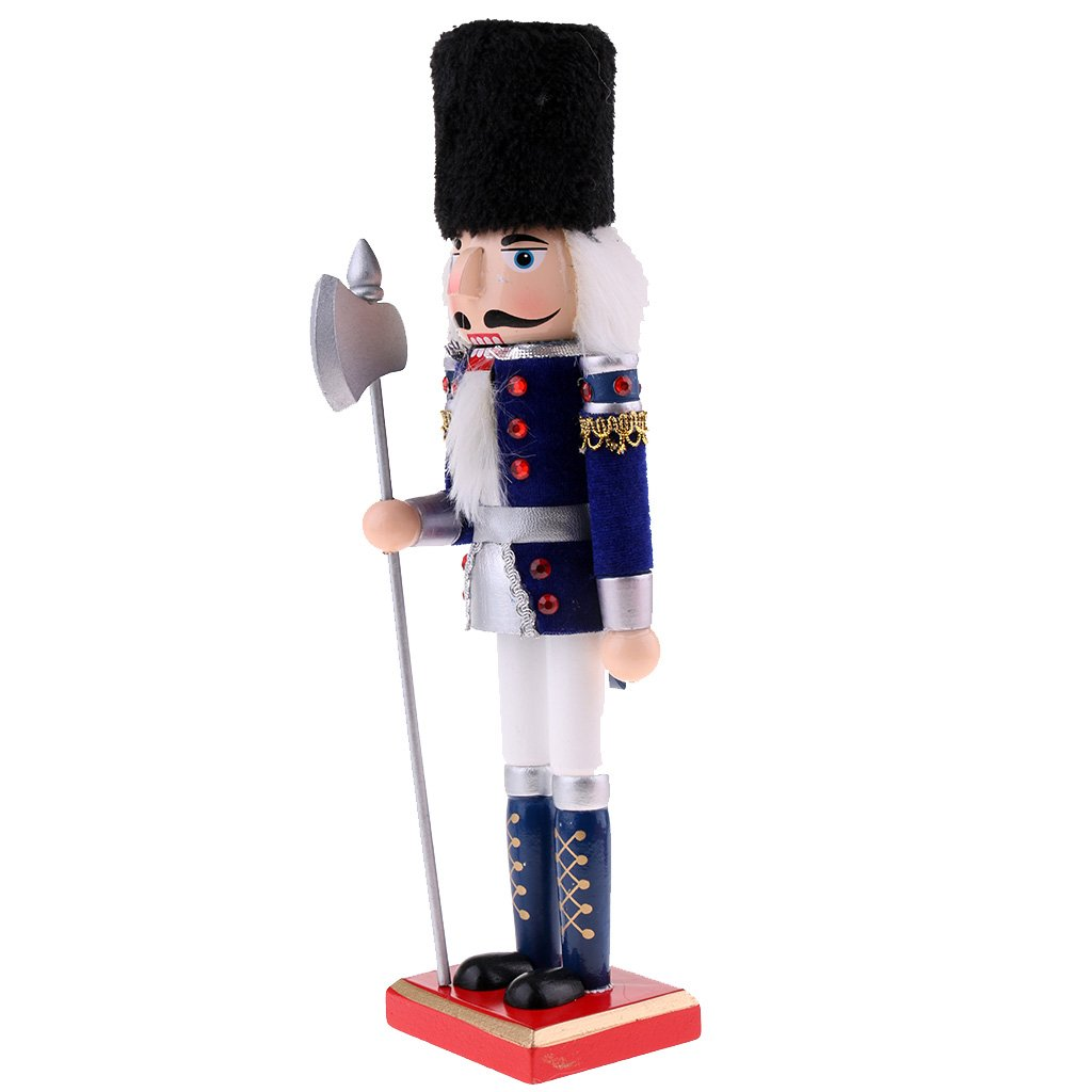 MagiDeal Vintage 30cm Wood Fluffy Costume Nutcracker Soldier Figures Figurine Home Desktop Ornaments Children Xmas Birthday Gift Blue