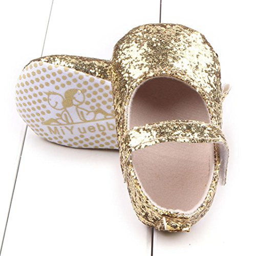 TPulling Kleinkind Mädchen Soft Sole Krippe Pailletten Schuhe Sequins Sneaker Baby Schuhe Gold