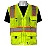 Global Glove GLO-079 - FrogWear HV - High-Visibility Mesh Polyester Surveyors Safety Vest - X-Large