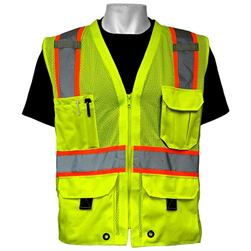 - Global Glove GLO-079 - FrogWear HV - High-Visibility Mesh Polyester Surveyors Safety Vest - Large