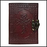 Cross Brown embossed Leather Journal Writing Notebook/Diary - Antique Handmade Leather Bound Daily Notepad For Men & Women 5 x 7 Inches, Best Gift Travel Diary & Notebooks
