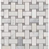 Basket Weave Asian Statuary Honed w/Lady Gray Dot (Sold by:SHEET) ASNSTHONBSKLDG