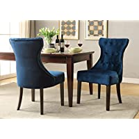 Chic Home Dickens Velvet Modern Contemporary Button Tufted Tapered Rubberwood Legs Dining Chair, Ice Blue(Set Of 2)
