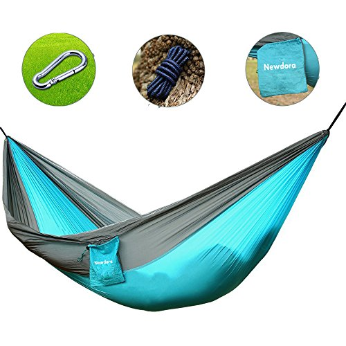 Price comparison product image Newdora Camping Hammocks Garden Hammock Ultralight Portable Nylon Parachute Multifunctional Lightweight Hammocks with 2 x Hanging Straps for Backpacking, Travel, Beach, Yard