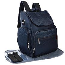 KF Baby Multi Pocket Travel Backpack Diaper Bag + Changing Pad, Stroller Straps