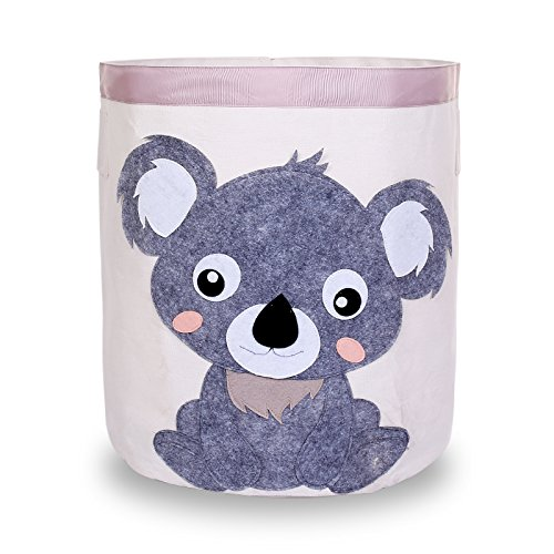 Love Happy Storage Bin Collapsible Canvas Toy Baskets Laundry Hampers Toy Organizers for Kids (Koala)