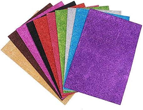 EORTA 10 hojas de papel de espuma con purpurina tamaño A4, papel de esponja EVA brillante, multicolor para manualidades, proyectos escolares, álbumes de recortes, colgante decorativo, sin adhesivo (sin pegamento), autoadhesivo: Amazon.es: