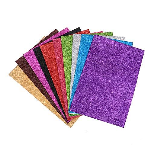 EORTA 10 Pieces A4 Glitter Foam Paper Sheets Sparkling EVA Sponge Paper Multicolor for Handmade DIY Card Crafts School Project, Scrapbooking, Decorative Pendant, NO-Adhesive(no - Glue Craft Foamies