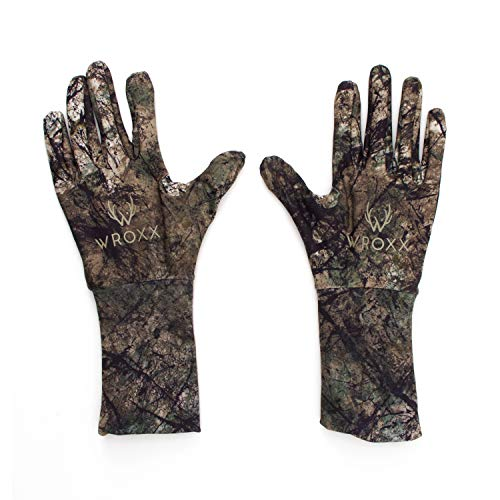 Wroxx Hunting Gloves (SM/M) - Stretch Fit, Touchscreen Compatible, Rubberized Grip, Natural Camo Pattern, Extended Cuff, Lightweight