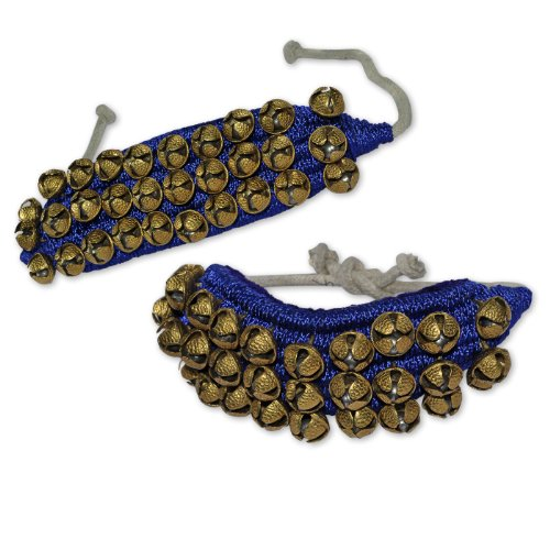 Ghungroo Set, Three Lines Bells Mounted on Good Quality Blue Pads