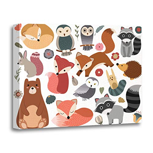 (Tinmun Painting Canvas Artwork Decorative Colorful Kid Woodland Animals and Cute Forest Deer Cartoon Wooden Frame 12x16 inches Wall Art for Home)