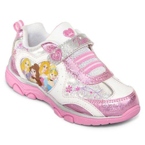 DISNEY Princess Lighted Athletic Running Shoe (Toddler/Little Kid),White/Pink,9 M US Toddler (Cinderella Shoes Kids)