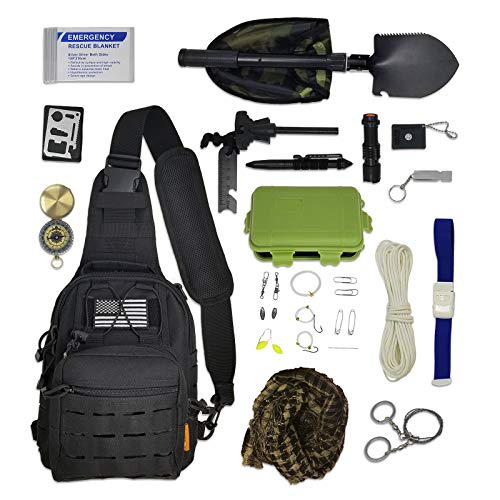 Cross-Body Tactical Sling Bag with Survival Gear & Emergency Tools | Small EDC Messenger Shoulder Sling Backpack Gift Set (Backpack Gift Set)
