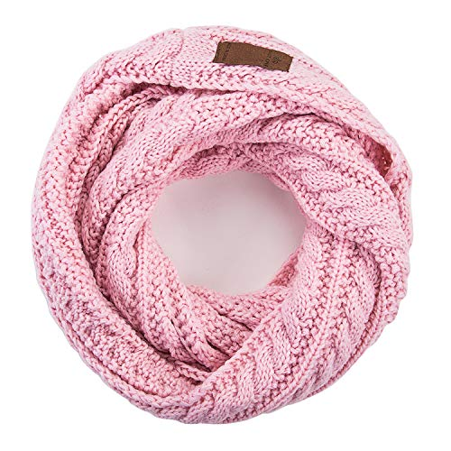 (Women's Fall Winter Solid Thick Ribbed Cable Knit Muffler Infinity Circle Loop Scarf.Pink)