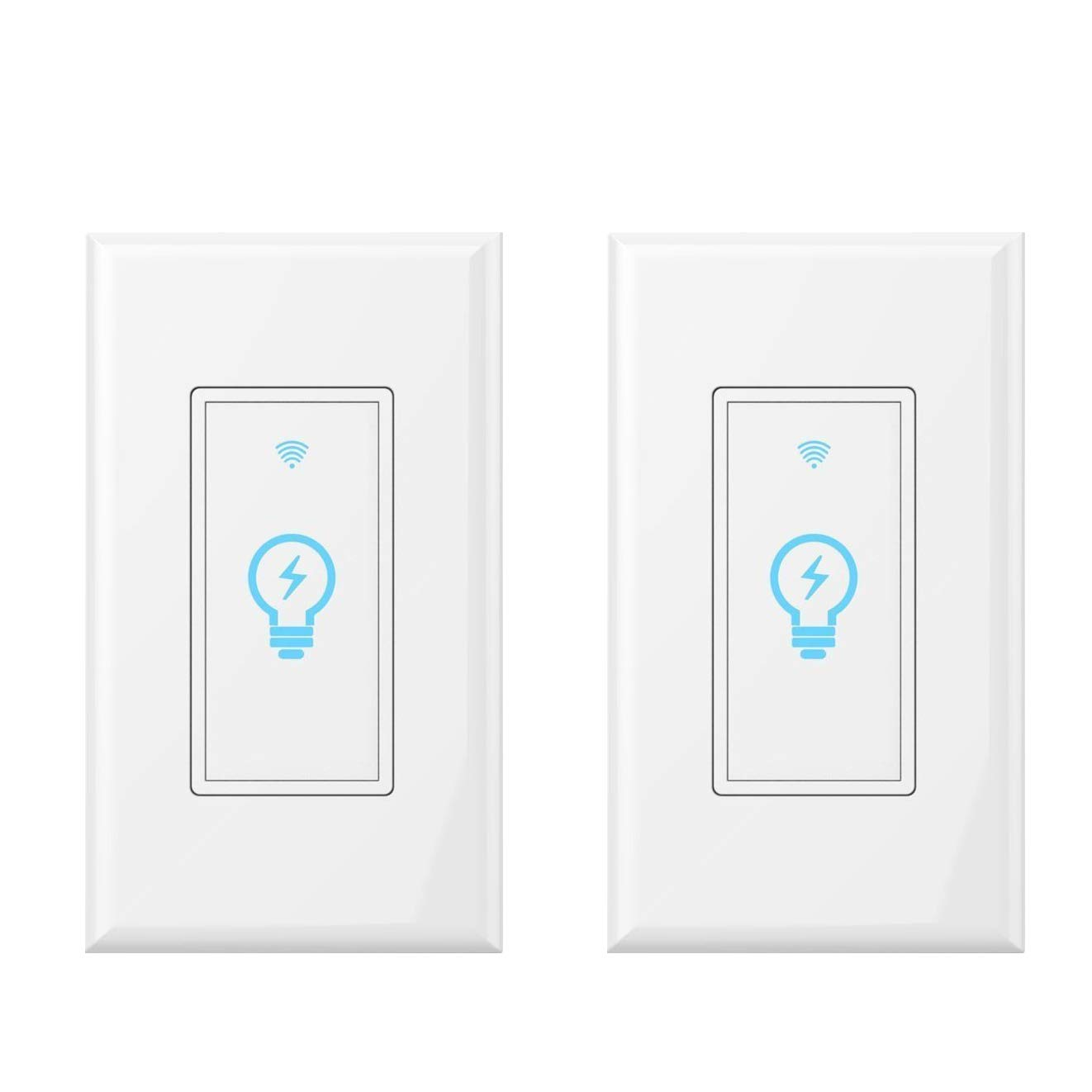 Smart Light Switch, Works with Amazon Alexa, Google Home IFTTT, App and Voice control, timing function, No Hub required, suitable for 2/3/4 box, neutral wire needs MICMI (Smart Switch 2pack)