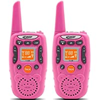 Camonity Two Way Radio Walkie Talkies for Kids Outdoor Toys 2km Long Range Interphone with Flashlight Straps for Girls Boys 2 Pack Pink