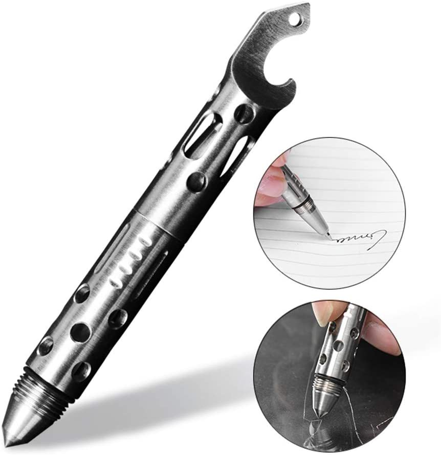 WGE Tactical Pen with Glass Breaker - Nuevos Regalos para viajeros al Aire Libre Guys - Rugged Survival Pens Black para Hombres.