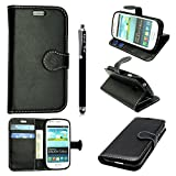 Samsung Galaxy S3 Mini i8190 Case - Kamal Star® PU Leather Flip Protective Magnetic Wallet Cover Case + Free Stylus (Plain Black Book)