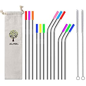 ALINK 12-Pack Stainless Steel Metal Straws with Silicone Tips, Long Reusable Drinking Straws for 20oz/ 30oz Yeti/Rtic Tumblers, Starbucks, Tervis with 2 Cleaning Brush and Carrying Case