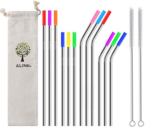 ALINK 12-Pack Stainless Steel Metal Straws with Silicone Tips, Long Reusable Drinking Straws for 20oz/ 30oz Yeti/Rtic Tumblers, Starbucks, Tervis with 2 Cleaning Brush and Carrying Case ()