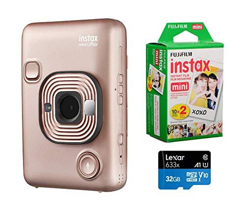 Fujifilm Instax Mini Liplay Hybrid Instant Camera (Blush Gold), Bundle Instax Mini Instant Daylight Film, Twin Pack (20 Exposures), 32GB MicroSD Card
