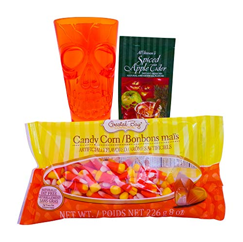 Halloween Hot Cider and Candy Gift Basket - Includes Goblet, Candy, and Treats - Great for College, Dorm, Kids, Adults and more! (Orange)