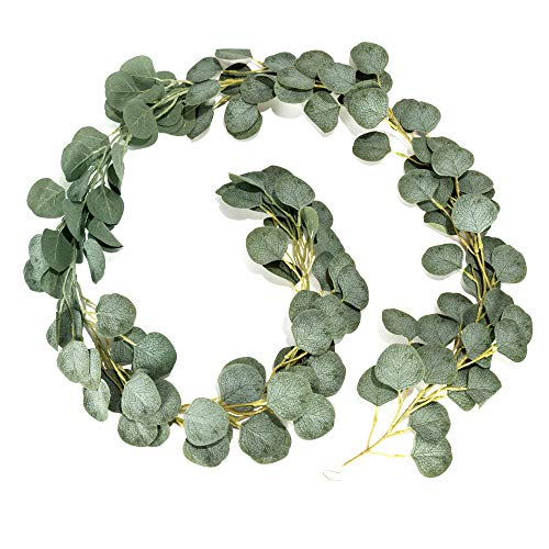 LJDJ Artificial Eucalyptus Garland - 6.5 Ft Faux Silk Eucalyptus Leaves Plant Fake Leaf Greenery Vines Twig Wreath Decorations for Wedding Holiday Party Backdrop Arch Floral Mantle Table Wall - Ivy Twig