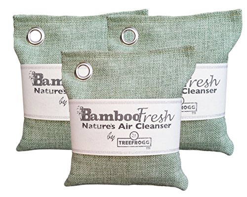 Bamboo Charcoal Air Purifying Bag, 3 Pack 600g Natural Freshener NON-TOXIC Purifier ~ NATURALLY ELIMINATES Odors, Allergens & Harmful Pollutants ~ Fragrance Free, Chemical Free ~ ReUse Up To 2 Years by Bamboo Fresh - Nature's Air Cleanser
