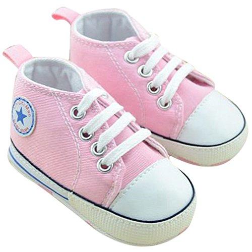 Dealzip Inc Super Cute Unisex Toddler Infant Baby Boy Girls Canvas Sneaker for Prewalker(3-6 months,Pink)