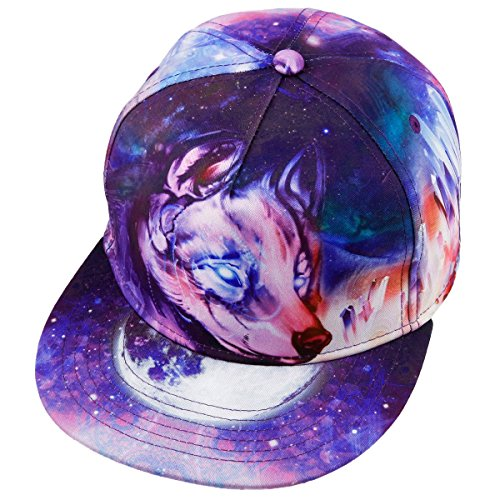 Samtree Unisex Snapback Hats,Adjustable Printed Hip Hop Flat Bill Baseball Cap - Wolf Trucker Hat